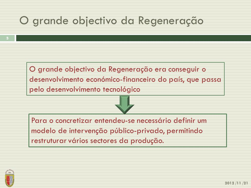 O grande objectivo da Regeneração