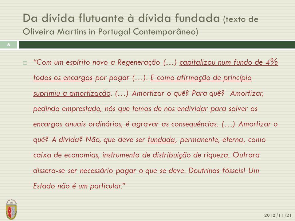 Da dívida flutuante à dívida fundada (texto de Oliveira Martins in Portugal Contemporâneo)
