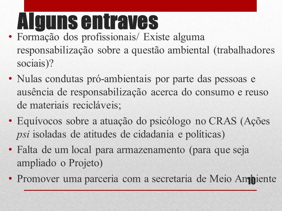 Alguns entraves Formação dos profissionais/ Existe alguma responsabilização sobre a questão ambiental (trabalhadores sociais)