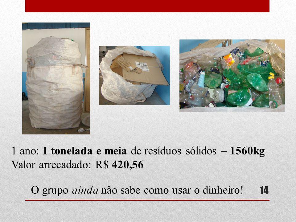 1 ano: 1 tonelada e meia de resíduos sólidos – 1560kg
