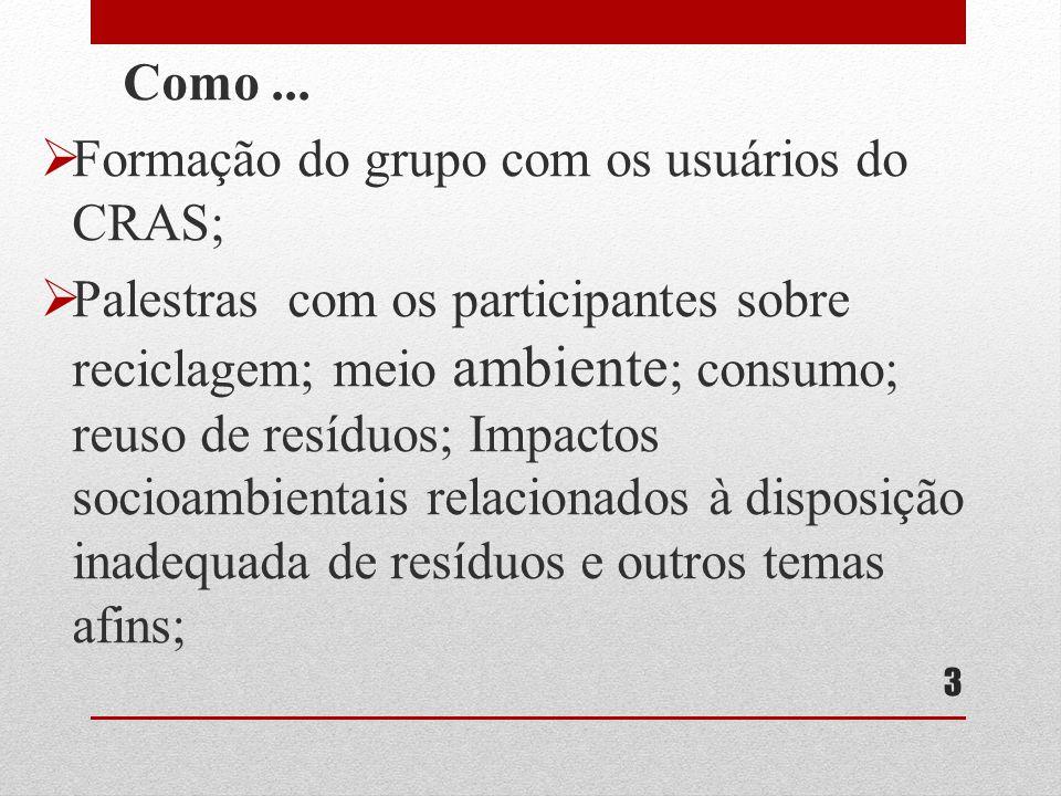 Formação do grupo com os usuários do CRAS;
