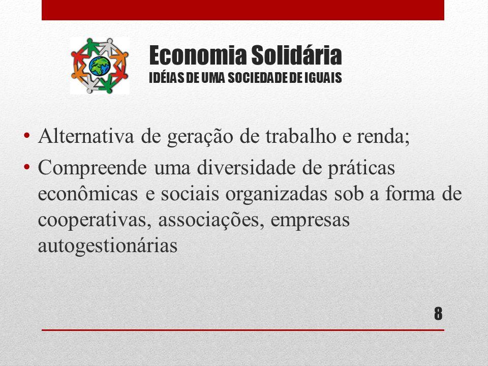 Economia Solidária IDÉIAS DE UMA SOCIEDADE DE IGUAIS