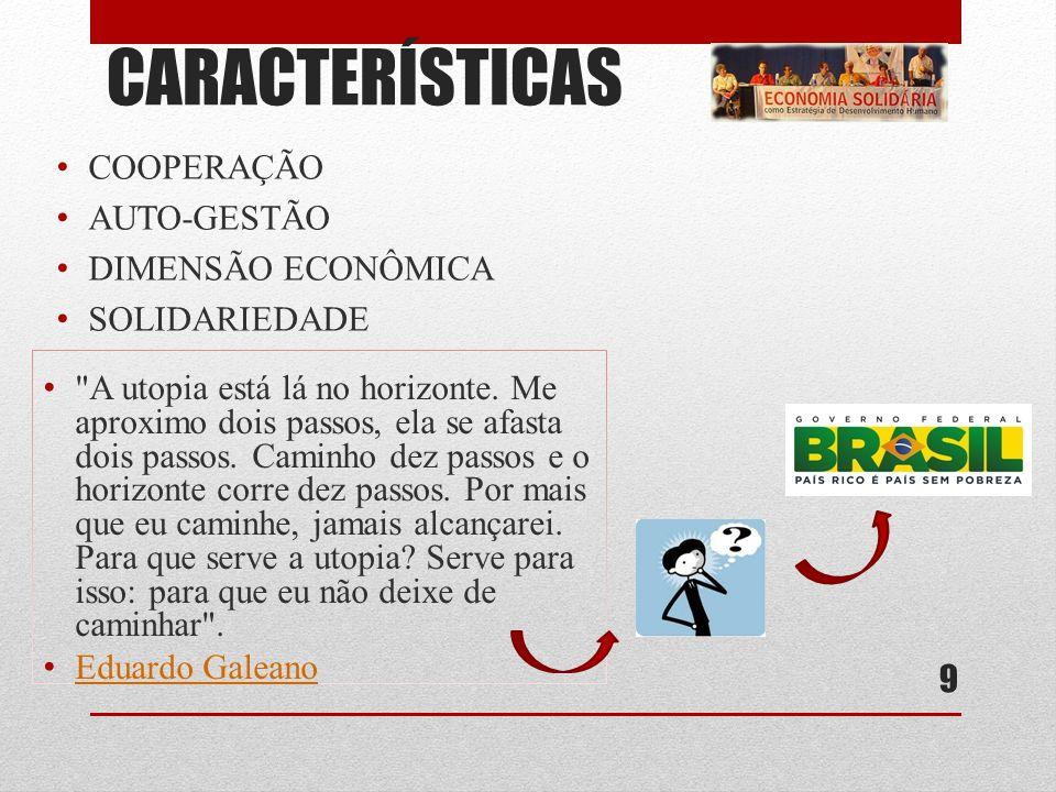CARACTERÍSTICAS COOPERAÇÃO AUTO-GESTÃO DIMENSÃO ECONÔMICA