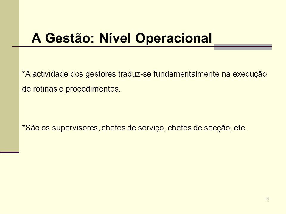 A Gestão: Nível Operacional