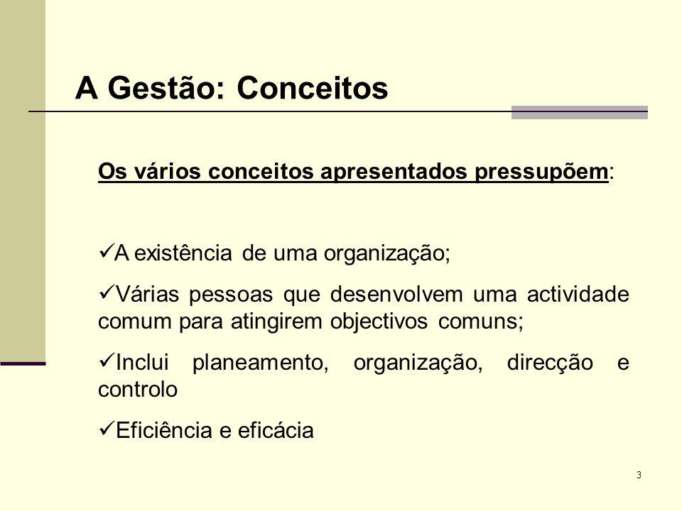 A Gestão: Conceitos A existência de uma organização;