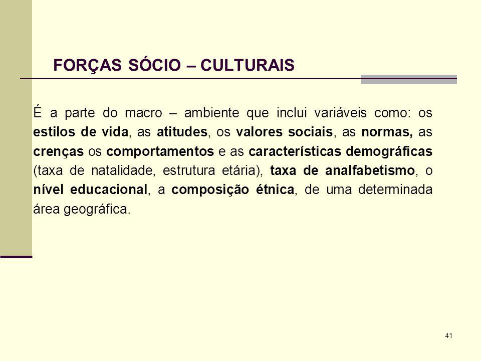 FORÇAS SÓCIO – CULTURAIS