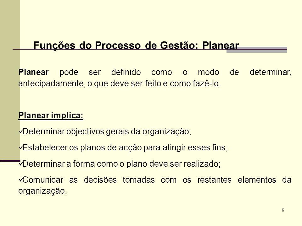 Funções do Processo de Gestão: Planear