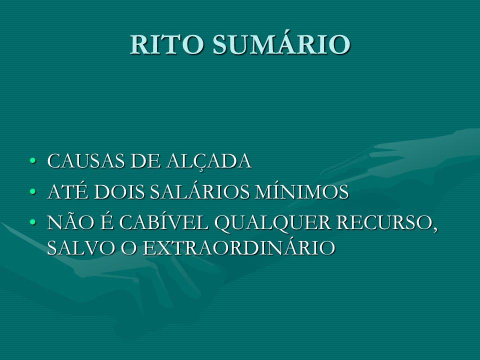 RITO SUMÁRIO CAUSAS DE ALÇADA ATÉ DOIS SALÁRIOS MÍNIMOS