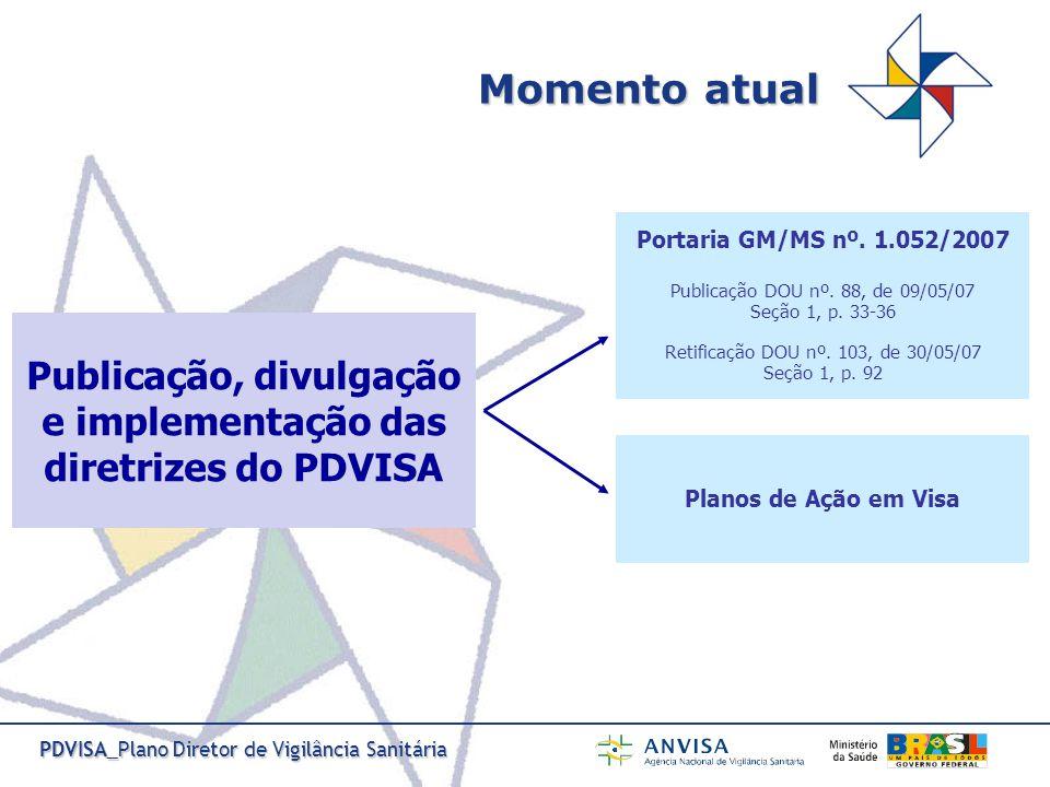 Publicação, divulgação e implementação das diretrizes do PDVISA