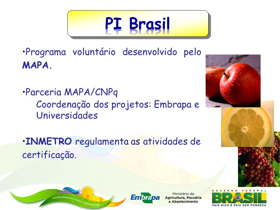 PI Brasil Programa voluntário desenvolvido pelo MAPA.