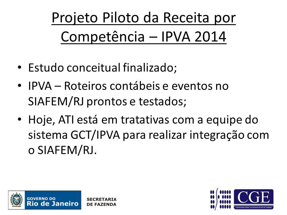 Projeto Piloto da Receita por Competência – IPVA 2014