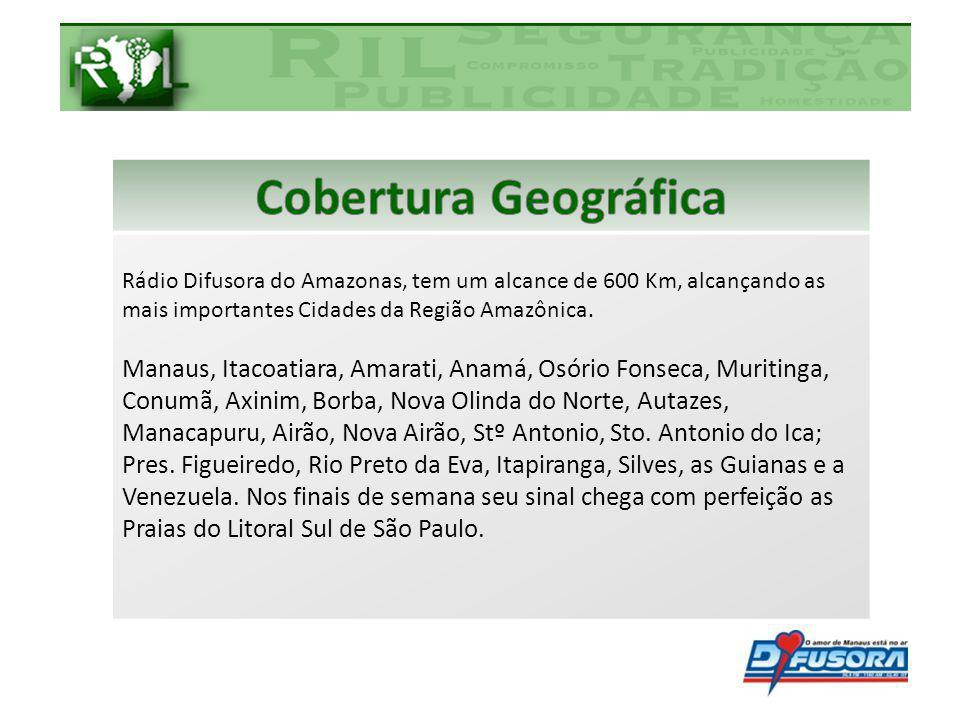 Cobertura Geográfica Rádio Difusora do Amazonas, tem um alcance de 600 Km, alcançando as mais importantes Cidades da Região Amazônica.