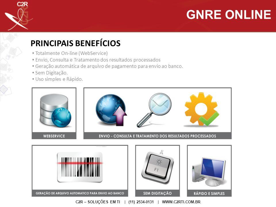 GNRE ONLINE PRINCIPAIS BENEFÍCIOS Totalmente On-line (WebService)
