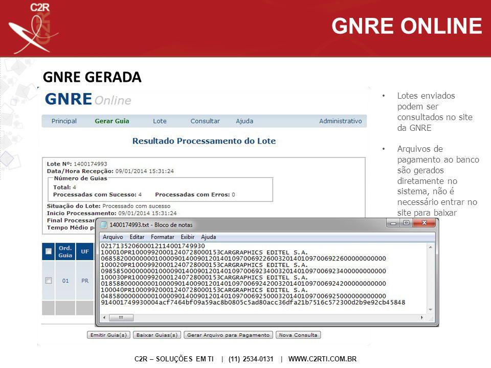 GNRE ONLINE GNRE GERADA
