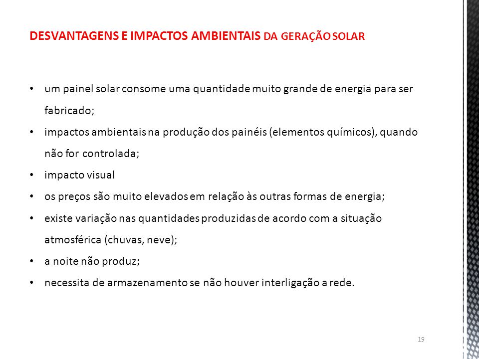 DESVANTAGENS E IMPACTOS AMBIENTAIS DA GERAÇÃO SOLAR