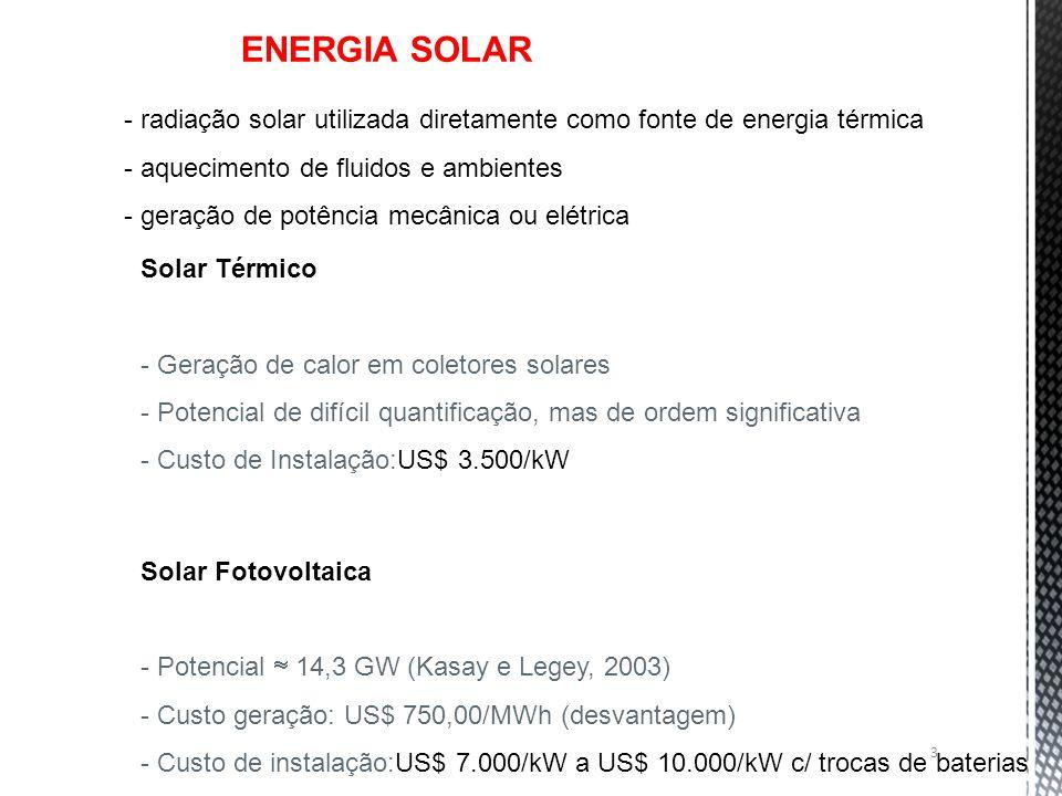 ENERGIA SOLAR - radiação solar utilizada diretamente como fonte de energia térmica. aquecimento de fluidos e ambientes.
