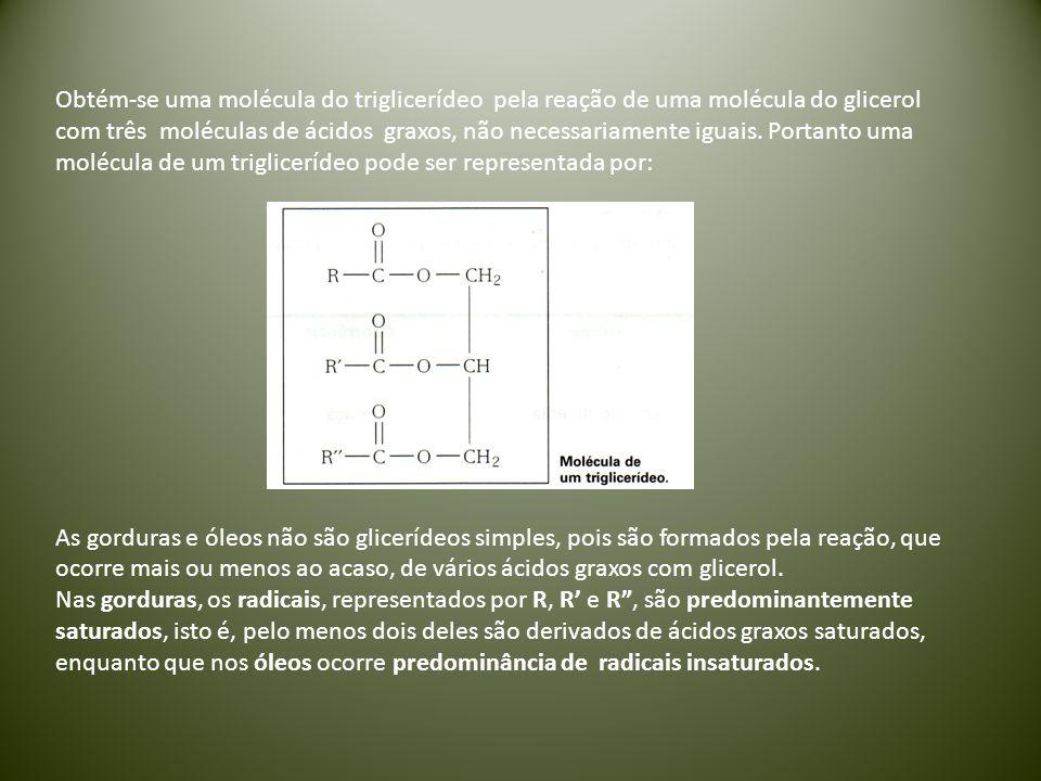 Obtém-se uma molécula do triglicerídeo pela reação de uma molécula do glicerol