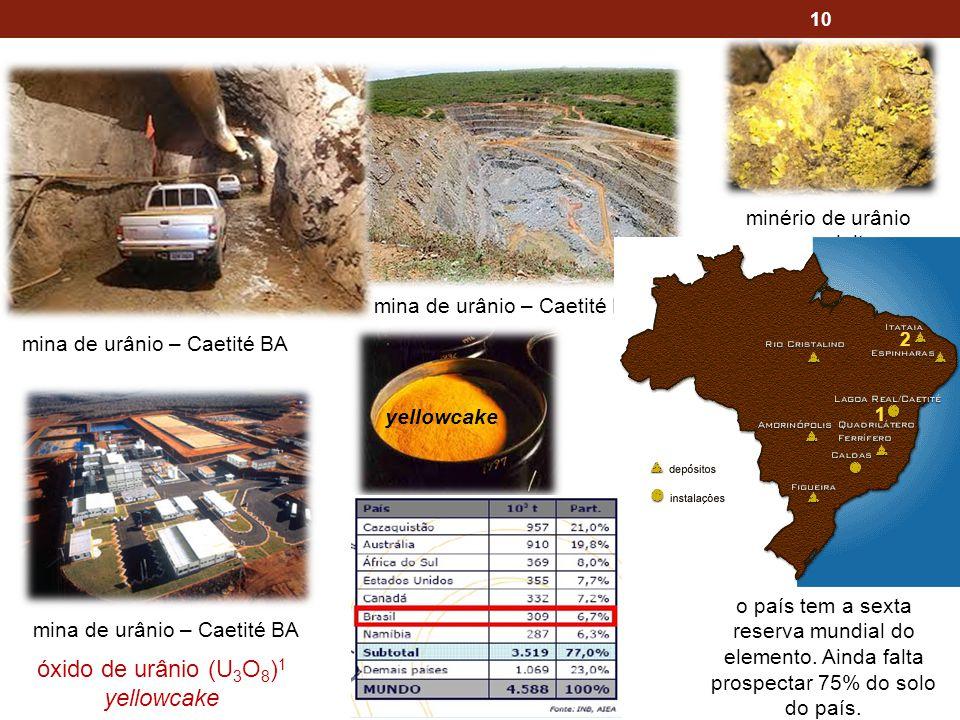 óxido de urânio (U3O8)1 yellowcake minério de urânio uraninita