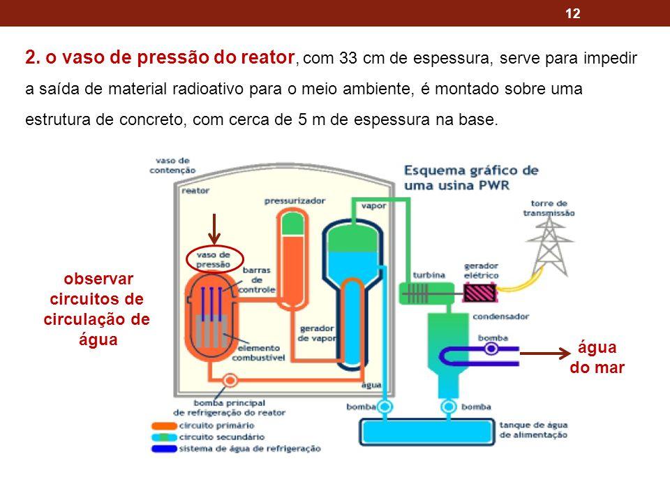 2. o vaso de pressão do reator, com 33 cm de espessura, serve para impedir a saída de material radioativo para o meio ambiente, é montado sobre uma