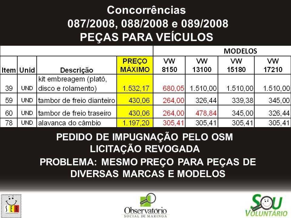 Concorrências 087/2008, 088/2008 e 089/2008 PEÇAS PARA VEÍCULOS