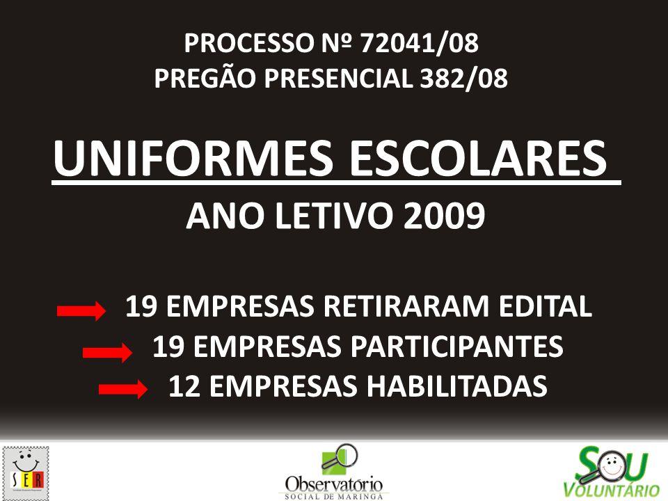 19 EMPRESAS RETIRARAM EDITAL 19 EMPRESAS PARTICIPANTES