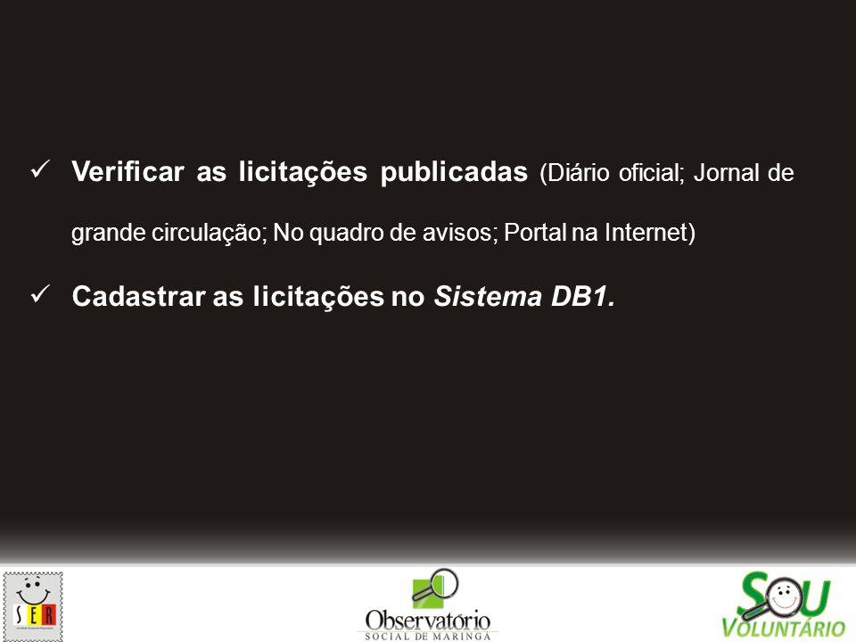 Verificar as licitações publicadas (Diário oficial; Jornal de grande circulação; No quadro de avisos; Portal na Internet)