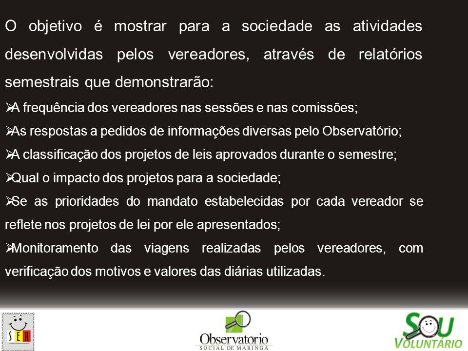 O objetivo é mostrar para a sociedade as atividades desenvolvidas pelos vereadores, através de relatórios semestrais que demonstrarão: