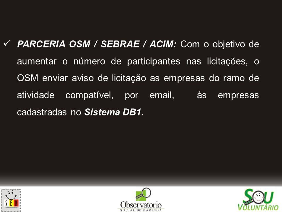 PARCERIA OSM / SEBRAE / ACIM: Com o objetivo de aumentar o número de participantes nas licitações, o OSM enviar aviso de licitação as empresas do ramo de atividade compatível, por email, às empresas cadastradas no Sistema DB1.