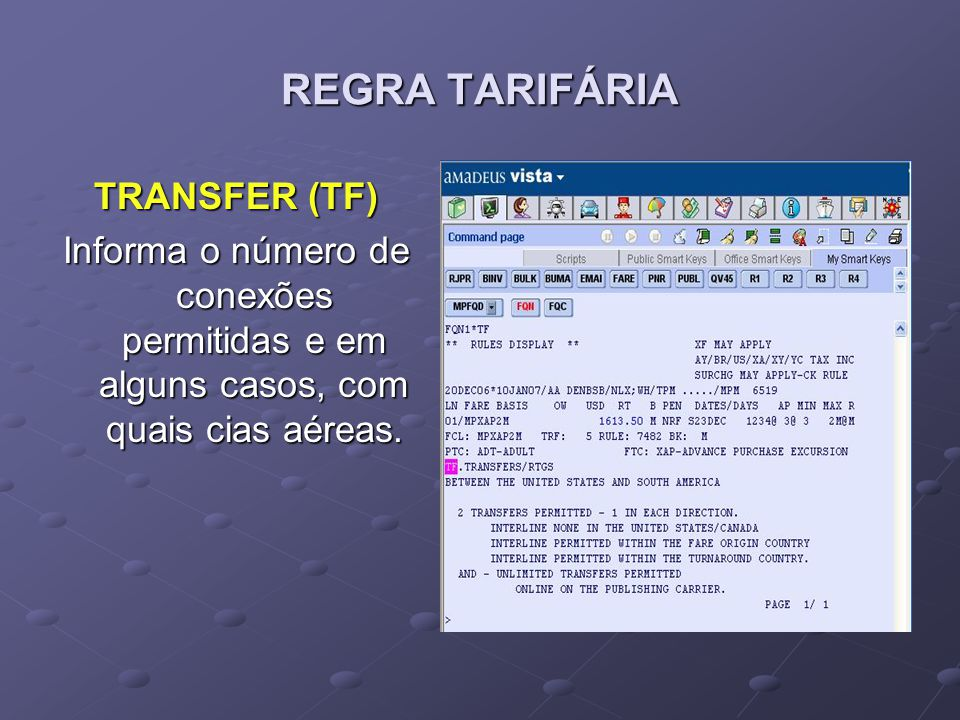 REGRA TARIFÁRIA TRANSFER (TF)