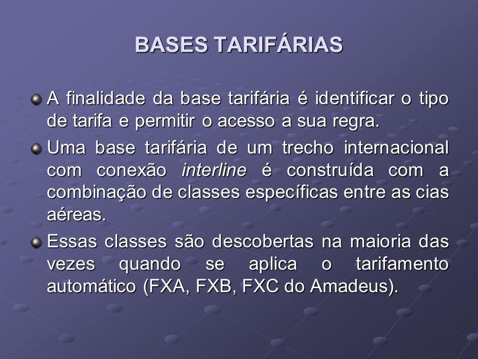 BASES TARIFÁRIAS A finalidade da base tarifária é identificar o tipo de tarifa e permitir o acesso a sua regra.