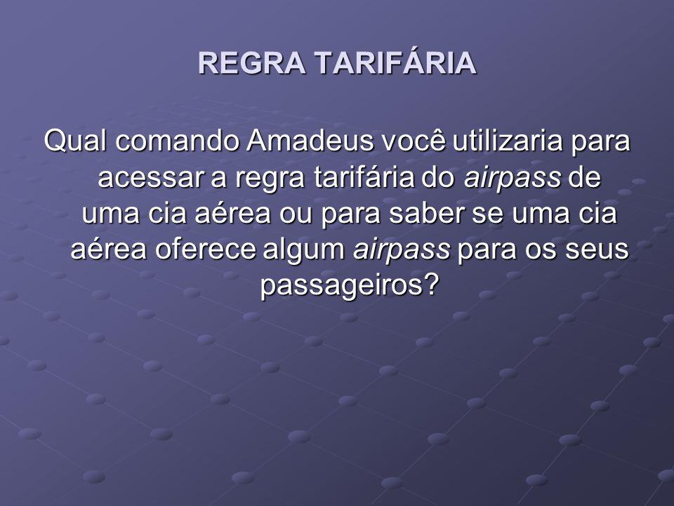 REGRA TARIFÁRIA