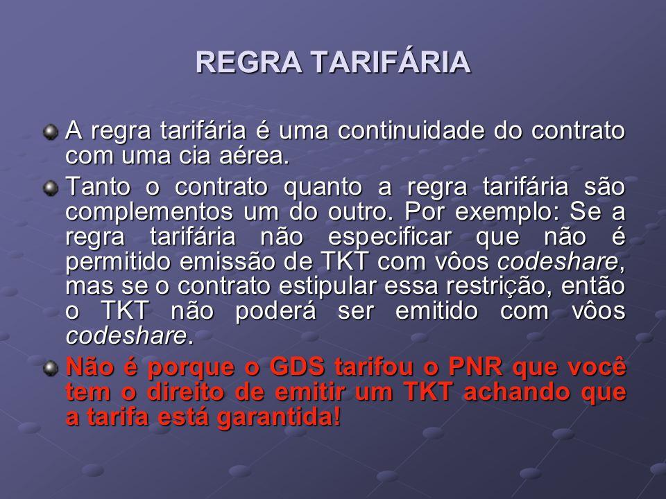 REGRA TARIFÁRIA A regra tarifária é uma continuidade do contrato com uma cia aérea.
