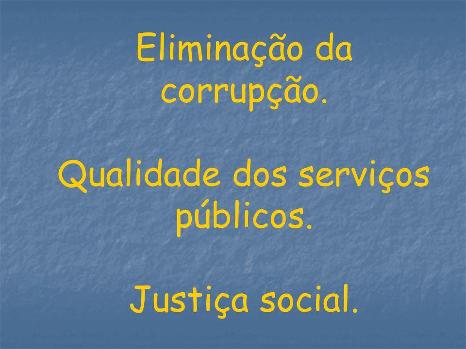Eliminação da corrupção.