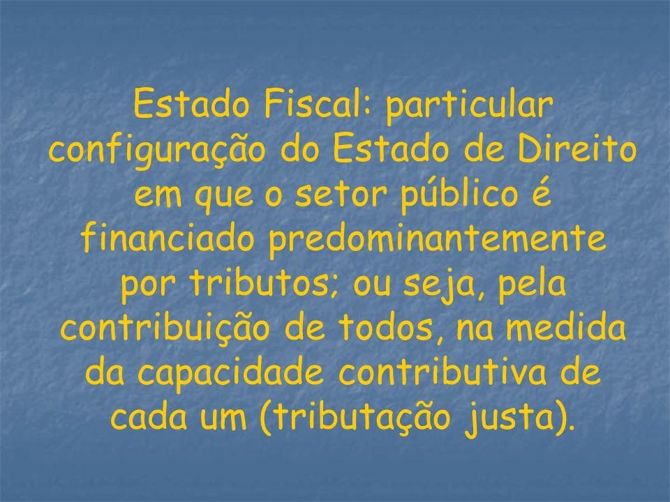 Estado Fiscal: particular configuração do Estado de Direito em que o setor público é financiado predominantemente por tributos; ou seja, pela contribuição de todos, na medida da capacidade contributiva de cada um (tributação justa).