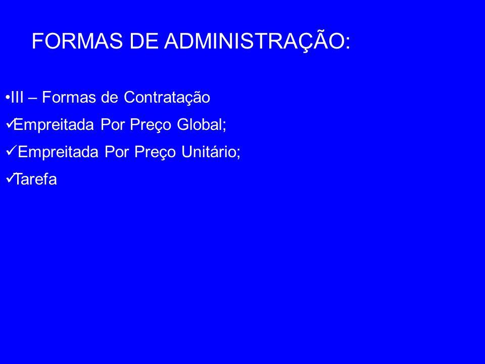 FORMAS DE ADMINISTRAÇÃO: