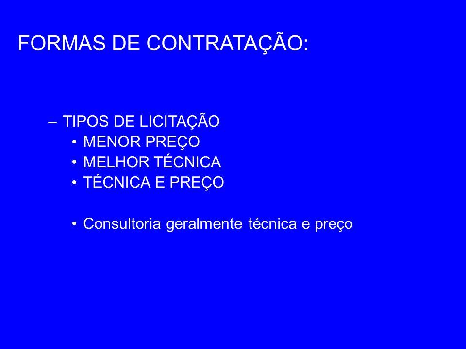 FORMAS DE CONTRATAÇÃO:
