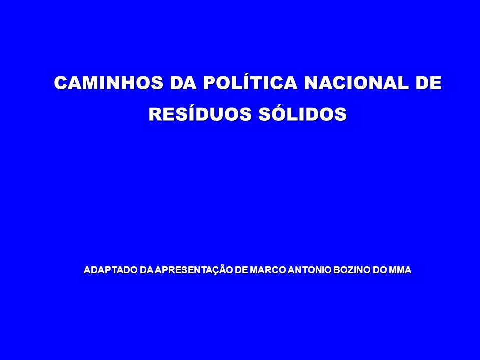 CAMINHOS DA POLÍTICA NACIONAL DE RESÍDUOS SÓLIDOS