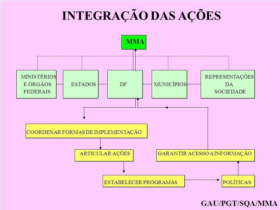 INTEGRAÇÃO DAS AÇÕES GAU/PGT/SQA/MMA MMA MINISTÉRIOS REPRESENTAÇÕES