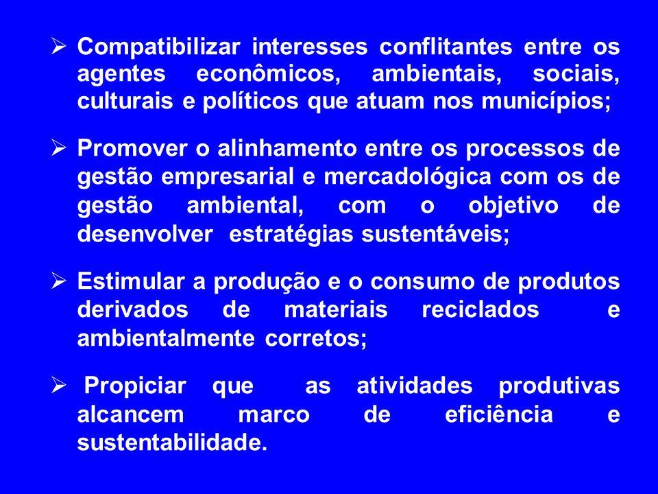Compatibilizar interesses conflitantes entre os agentes econômicos, ambientais, sociais, culturais e políticos que atuam nos municípios;
