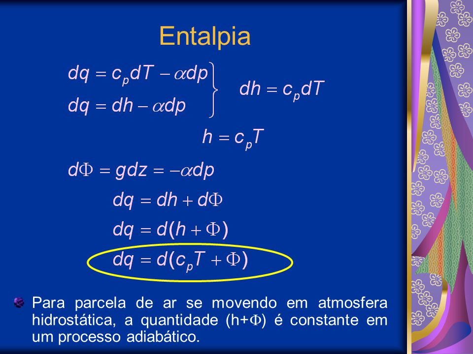 Entalpia Para parcela de ar se movendo em atmosfera hidrostática, a quantidade (h+) é constante em um processo adiabático.