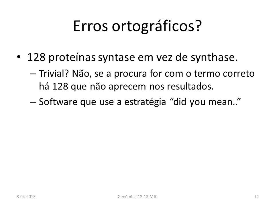 Erros ortográficos 128 proteínas syntase em vez de synthase.