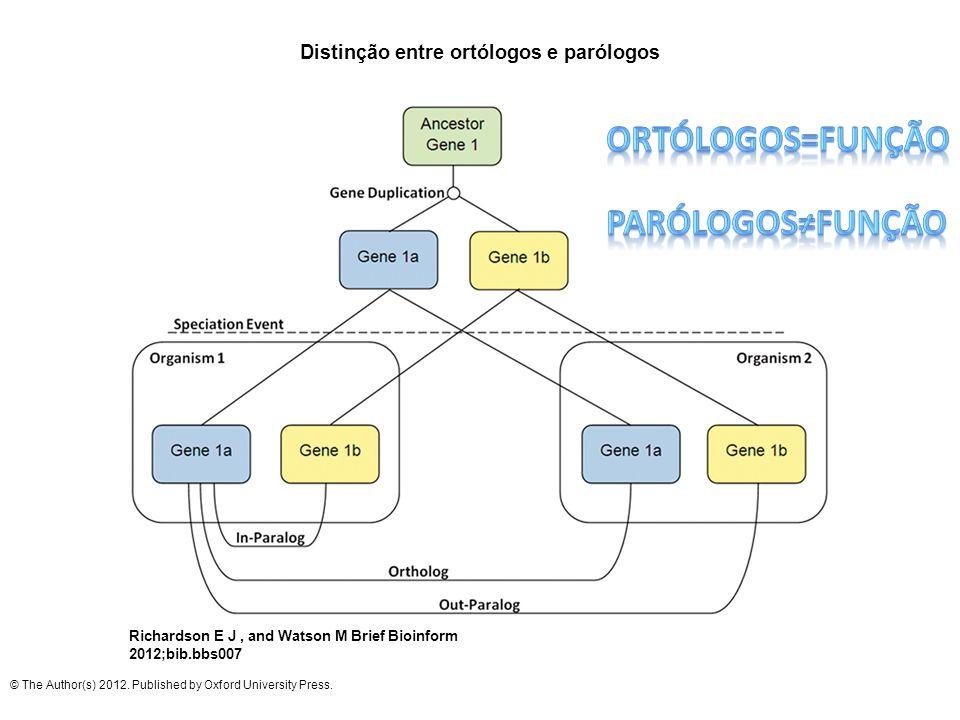 Distinção entre ortólogos e parólogos