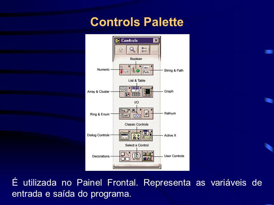 Controls Palette É utilizada no Painel Frontal.
