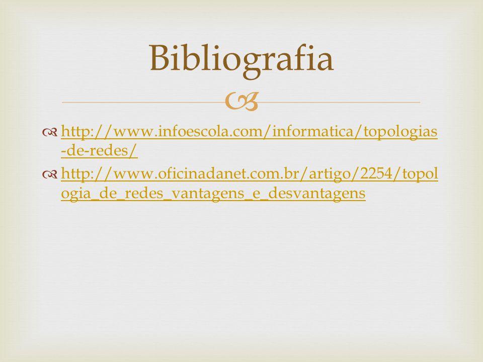 Bibliografia http://www.infoescola.com/informatica/topologias-de-redes/