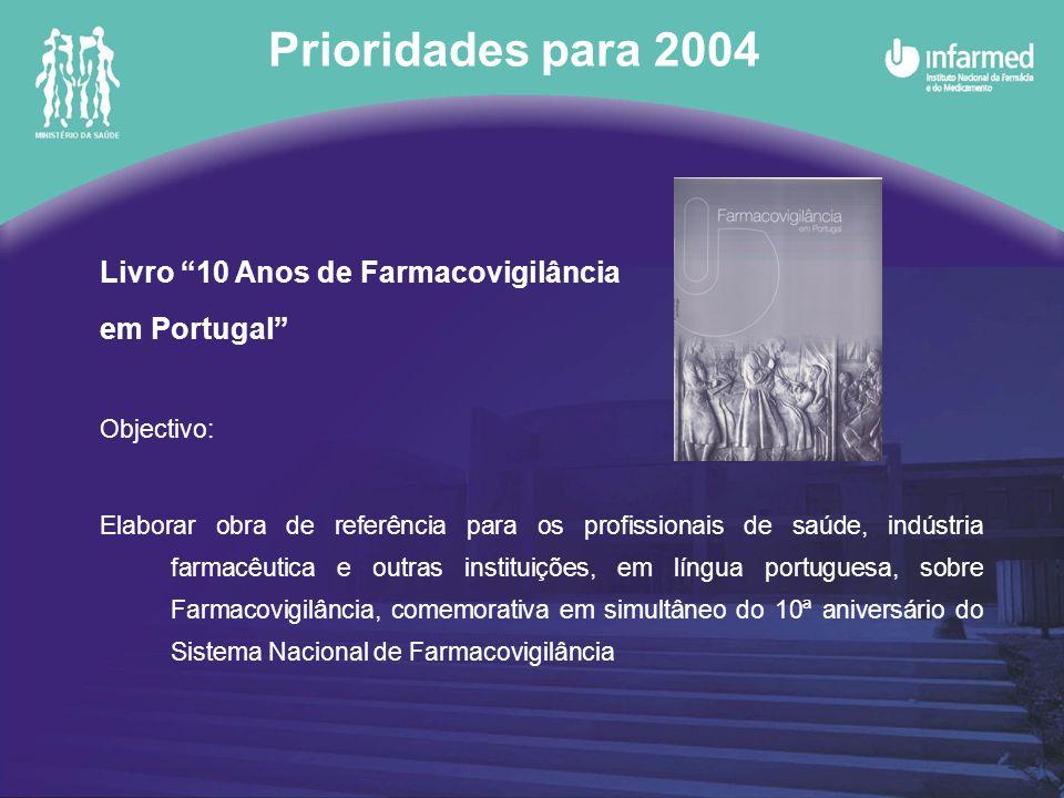 Prioridades para 2004 Livro 10 Anos de Farmacovigilância em Portugal