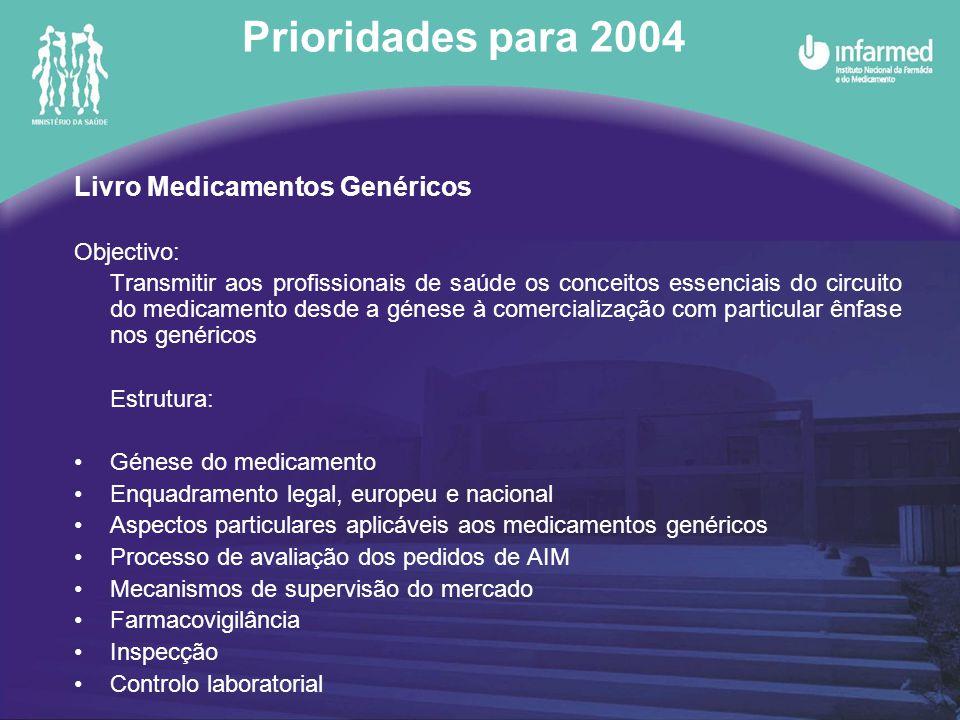 Prioridades para 2004 Livro Medicamentos Genéricos Objectivo: