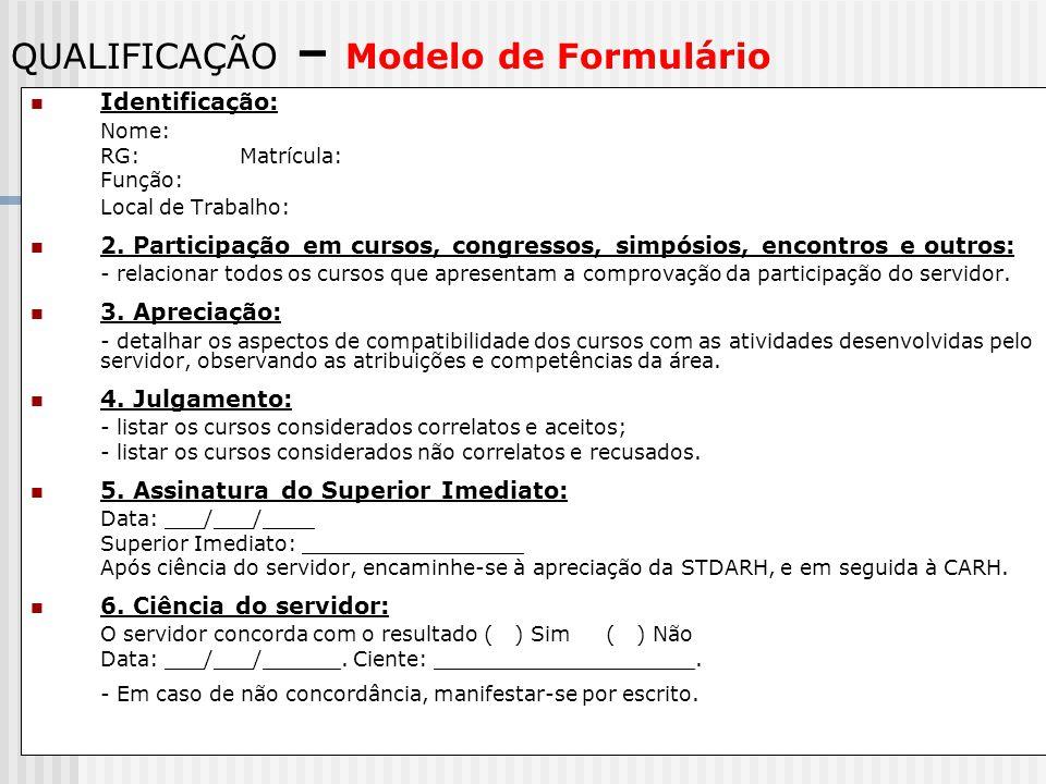 QUALIFICAÇÃO – Modelo de Formulário