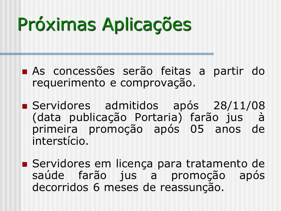 Próximas Aplicações As concessões serão feitas a partir do requerimento e comprovação.