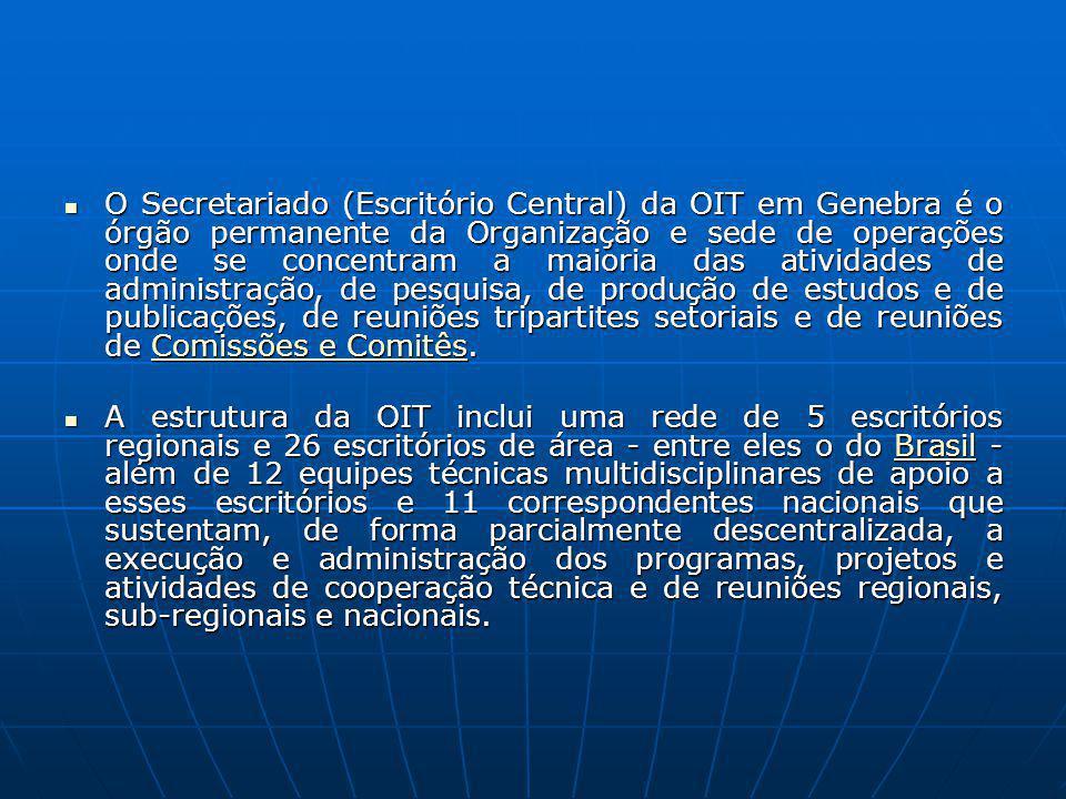 O Secretariado (Escritório Central) da OIT em Genebra é o órgão permanente da Organização e sede de operações onde se concentram a maioria das atividades de administração, de pesquisa, de produção de estudos e de publicações, de reuniões tripartites setoriais e de reuniões de Comissões e Comitês.