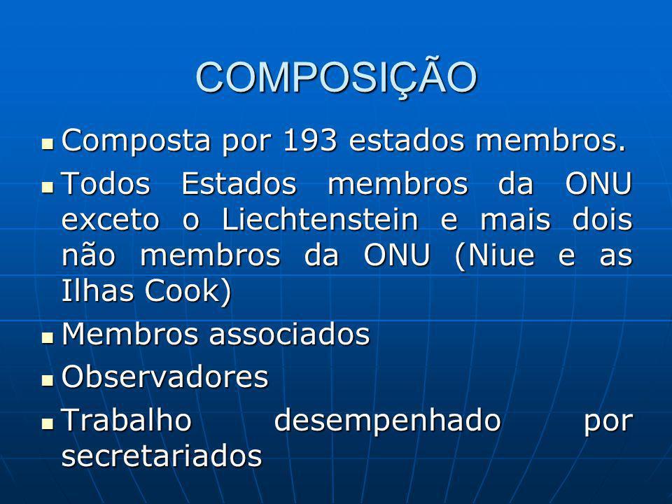 COMPOSIÇÃO Composta por 193 estados membros.